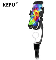 KEFU New Pop Socket Universal 2 USB Car Charger Mount Cell Mobile Phone Holder Bracket Stands