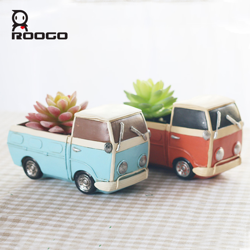 Roogo New Creative retro tool cart flowerpot small plant pots Fun Desktop truck Cars resin Flower Pots home garden Decoration