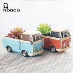 Roogo New Creative retro truck cars flowerpot small plant pots Fun Desktop truck Cars resin Flower Pots home garden Decoration