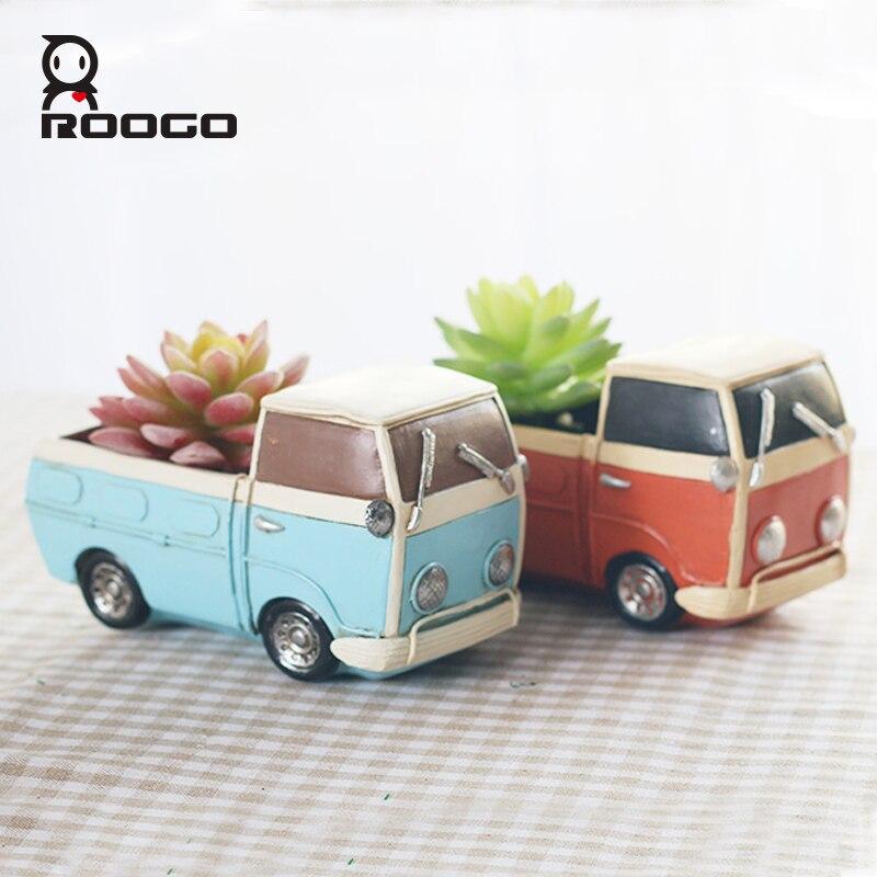 Roogo Nuovo Creativo retrò camion auto vaso di fiori piccoli vasi di piante di Divertimento Desktop camion Auto Del Fiore della resina Vasi da giardino di casa Della Decorazione