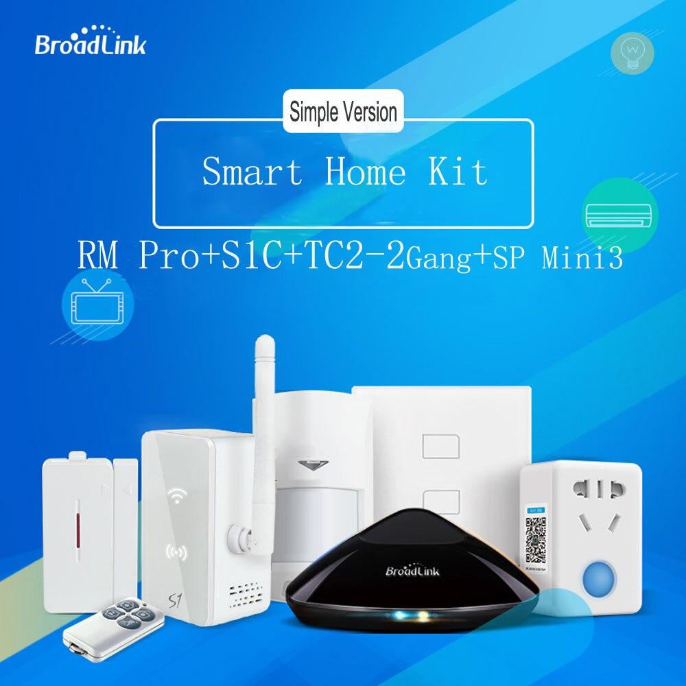 Broadlink Rm Pro + S1C Kit Alarme + TC2 Interrupteur Mural + Sp Mini3 Prise, wiFi/RF/IR Télécommande Sans Fil Pour La Domotique Intelligente
