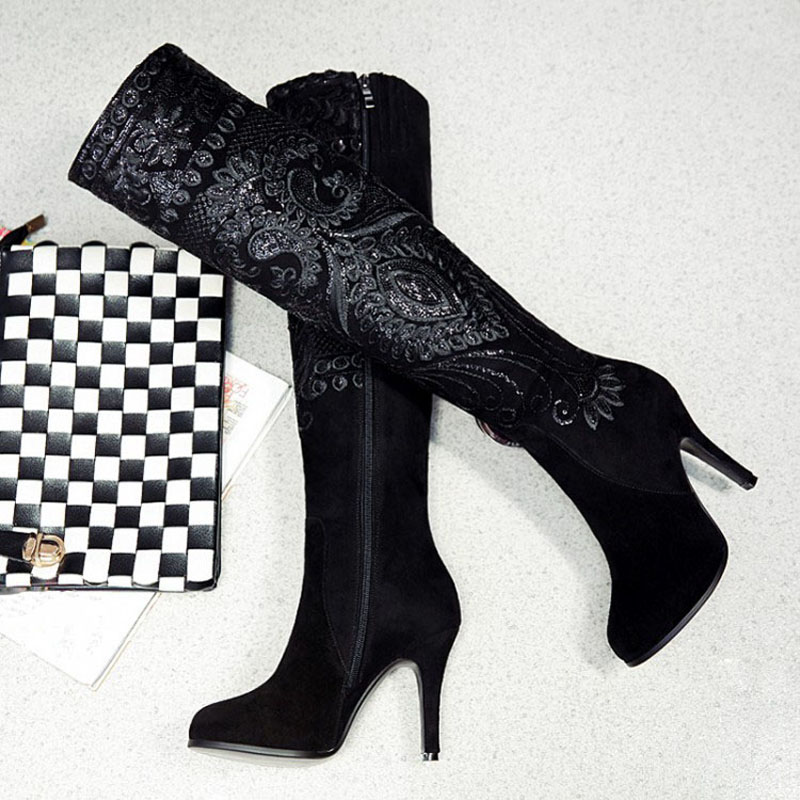 New Arrival sexy women printing thin high-heeled over the knee boots national style side zipper genuine leather women long boots
