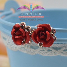 Fashion Red Rose Stud Earrings Zircon Crystals Blue Flower Gold color USTAR Earrings for Women wedding Party Jewelry