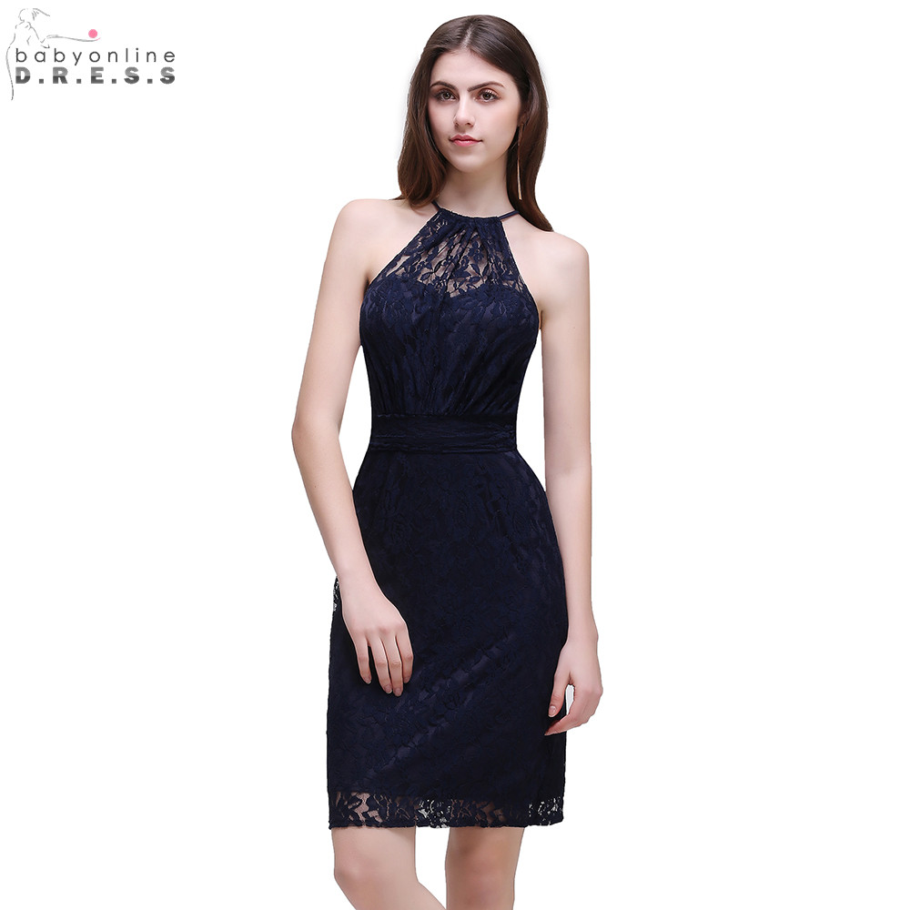 Robe Demoiselle D'honneur Cheap Navy Blue Lace Convertible Short   Bridesmaid     Dresses   Halter Neck Wedding Party DressRobe Dem