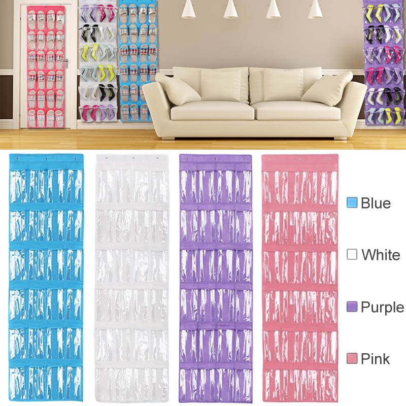 Space Saver 24 Pockets Over Door Shoes Hanging Storage Bag Holder with Hooks Home Supplies Hot Sale