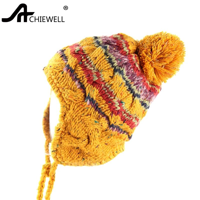 Achiewell Autumn and Winter Women Knitted Hats Cute Woolen Ball Yellow Skullies Beanies Women Caps