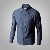 WW2 Reproduction Vintage US Navy Denim Chambray Work Shirt Men's Fatigue Utility