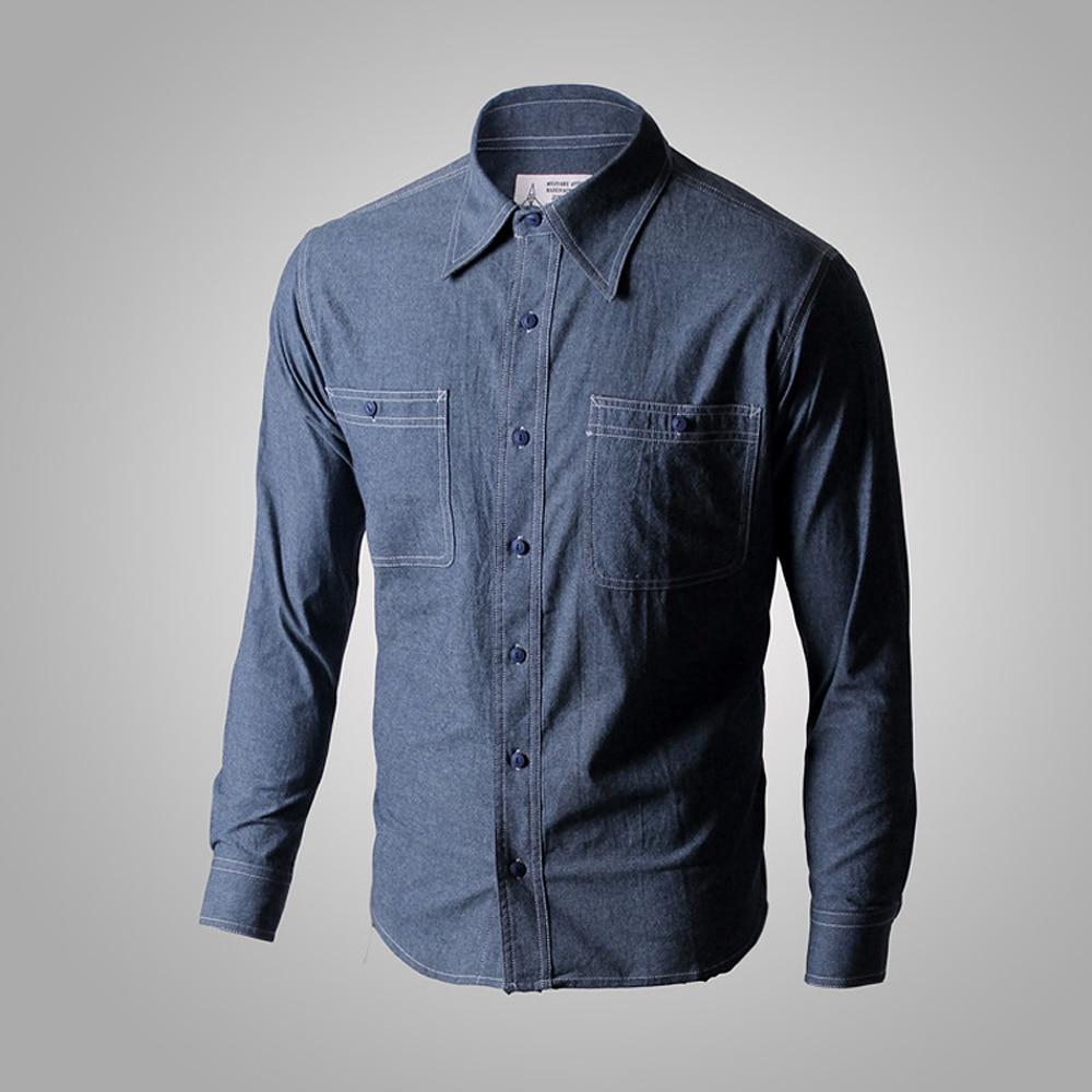 WW2 Reproduction Vintage bleu marine Denim Chambray chemise de travail hommes Fatigue utilitaireCasual Shirts