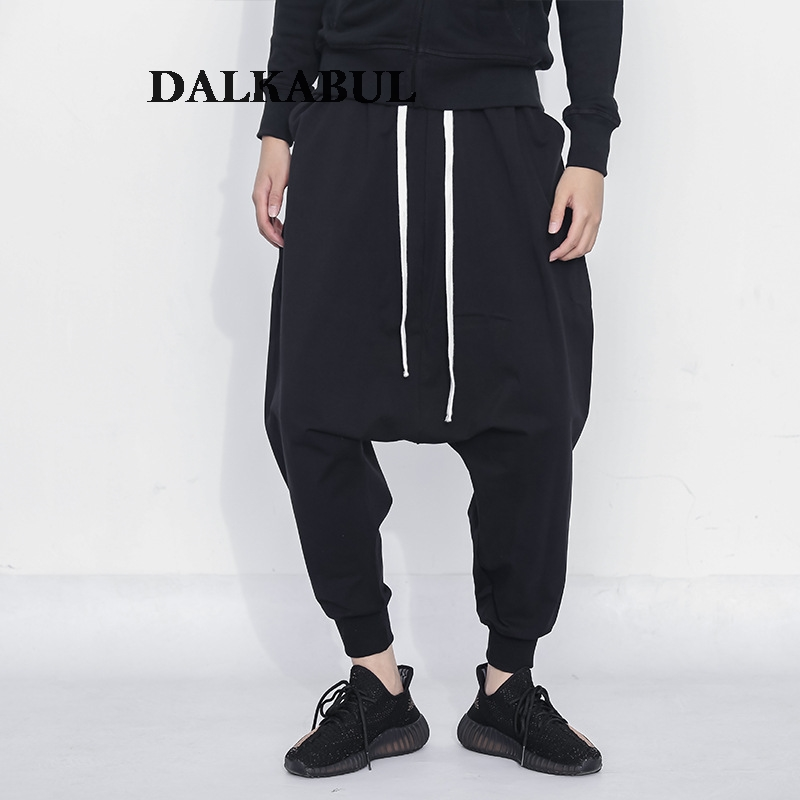 Harem Pants Men Hip Hop Baggy Cross Pants Elastic Waist  Loose  Trousers Casual Cool Low Crotch Streetwear Black Joggers