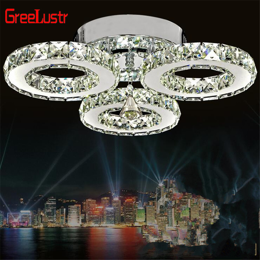 Crystal Ceiling chandelier lighting 3 Rings Modern 30W Led lustres Luminaria Plafond Ceiling Lamp For Bedroon