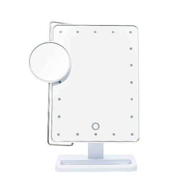 20 Led Iluminado Espejo De Mesa Encimera Espejo de aumento 10X Lupa espejo de Maquillaje Espejo Portátil Táctil Ajustable Mesa de Espejo