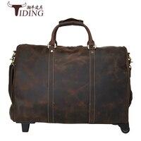 Чемодан Дорожные Сумки Упаковка Пояса из натуральной кожи чемодан на Колёса дорога 20 дюймов Бизнес Сумочка Классический Коричневый Koffer из