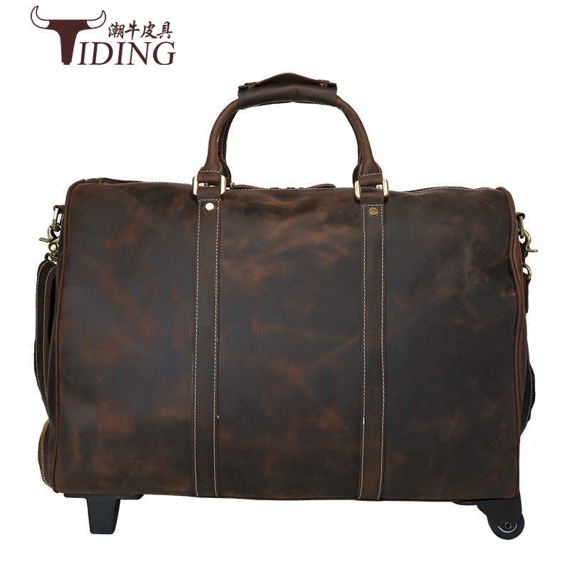 Luggage Travel Bags Packing Genuine Leather Suitcase On Wheels Road 20 Inch Business Hand Bag Classic Brown Koffer cow leather 2pcs travel bags replacement luggage suitcase wheels left