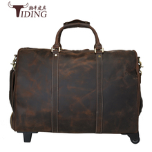 Luggage Travel Bags Packing Genuine Leather Suitcase On Wheels Road 20 Inch Business Hand Bag Classic Brown Koffer cow leather 2022242628inch pu leather trip travel maletas de viaje con ruedas envio gratis valiz koffer suitcase rolling luggage