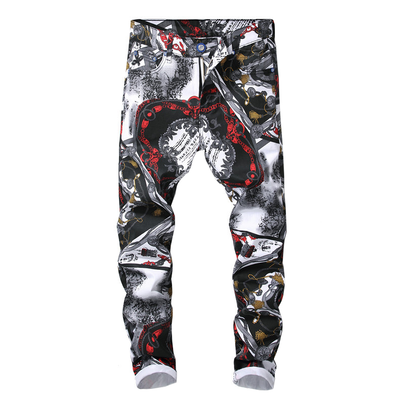 Men's fashion 3D pattern slim fit straight printed jeans Trendy white black colored drawing stretch denim pants