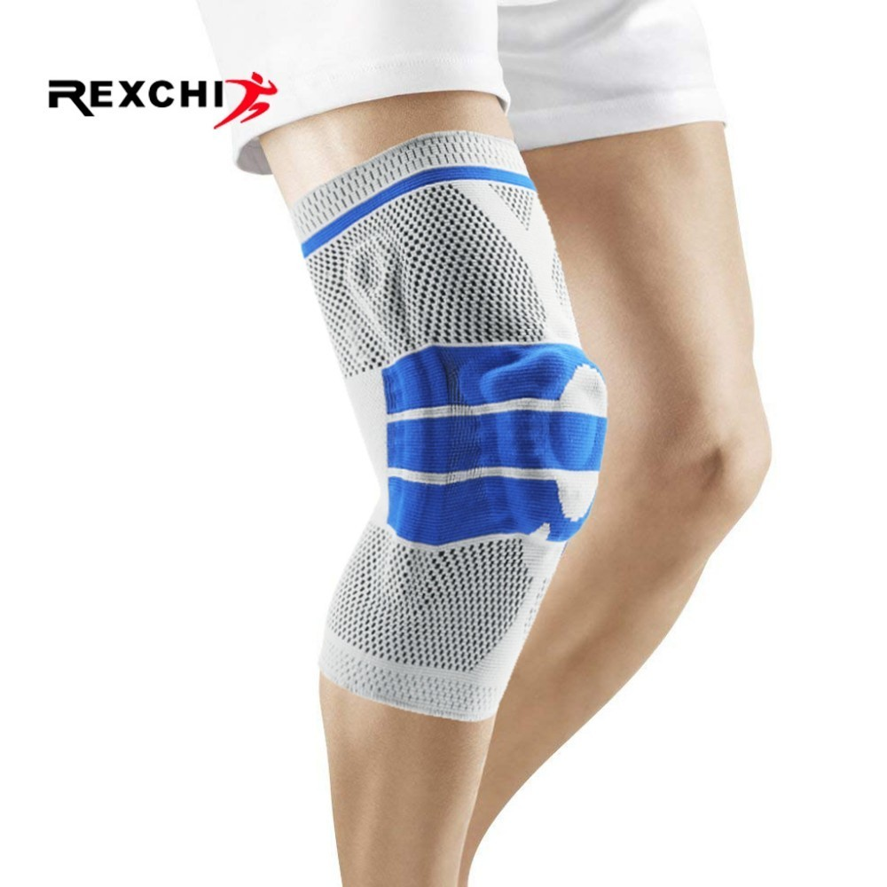 REXCHI Elastic Basketball Knee Pads Support Silicon Padded Patella Brace Kneepad Protective Gear For Volleyball Sports Safety