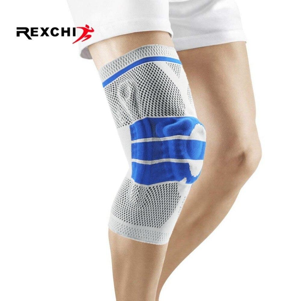 REXCHI Elastische Basketball Knie Pads Unterstützung Silicon Padded Patella Brace Kneepad Schutz Getriebe für Volleyball Sport Sicherheit