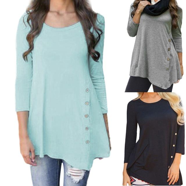 Корейская Летняя женская рубашка с круглым вырезом, повседневные женские Топы с длинным рукавом и пуговицами, однотонная туника, шифоновая блузка, женские топы Blusas, большие размеры