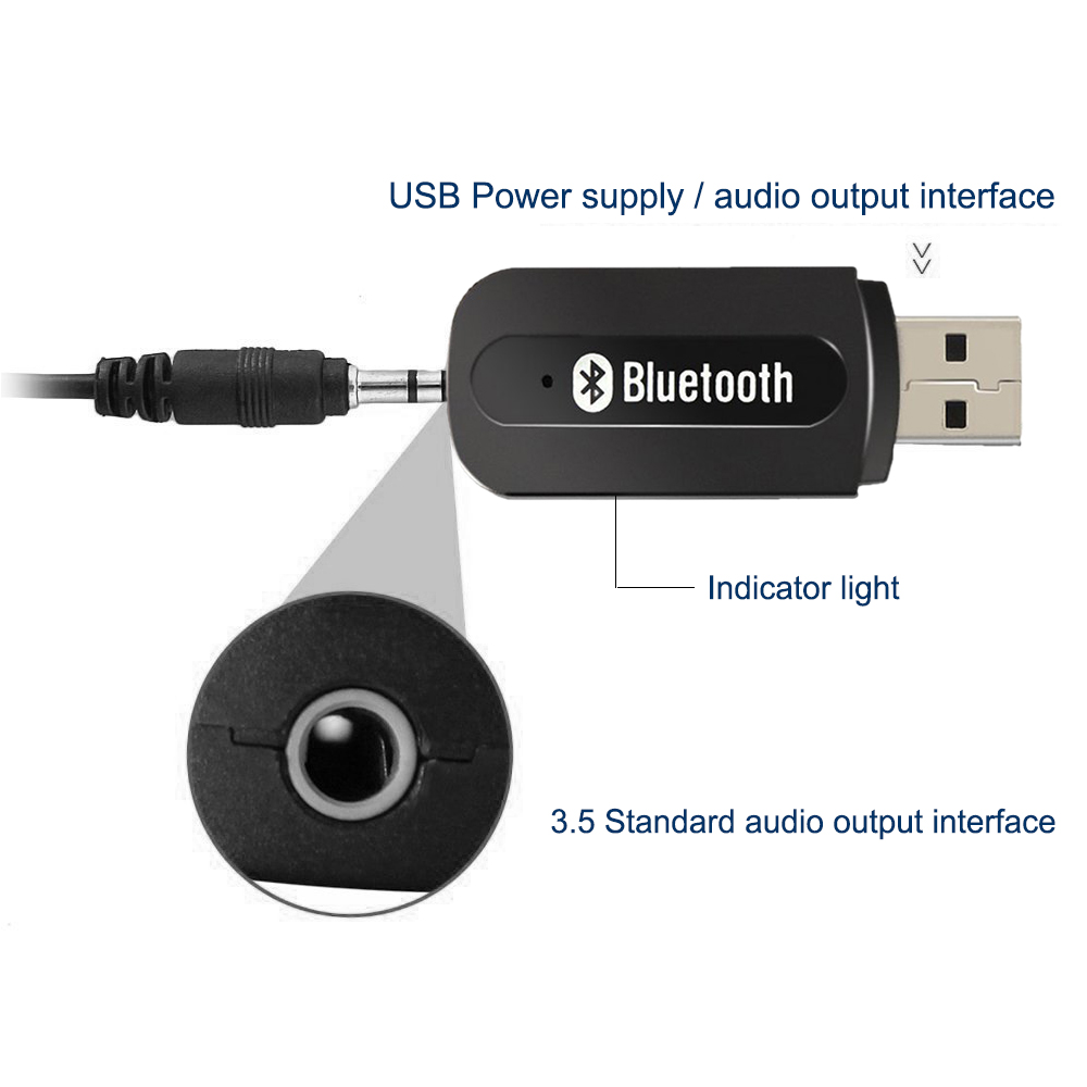 Bluetooth Adapter For Car Usb Port Stereo Music Recever 2 In 1 V4 0 Audio Receiver 3 5mm