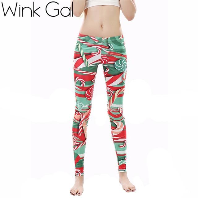 Wink Гал Дамской одежды Леггинсы Рождество Печатных Высокая Талия Похудения Леггинсы Брюки для Женщин