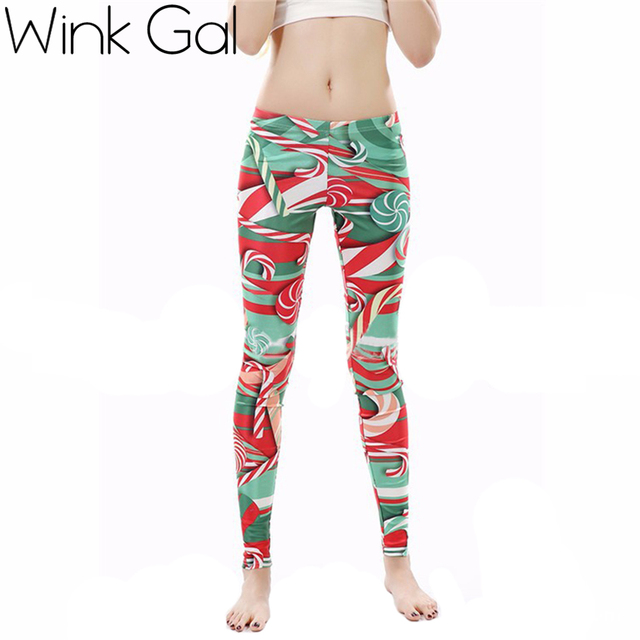 Wink Gal Women Fashion Legging Christmas Printed High Waist Slimming Leggins Trousers for Women