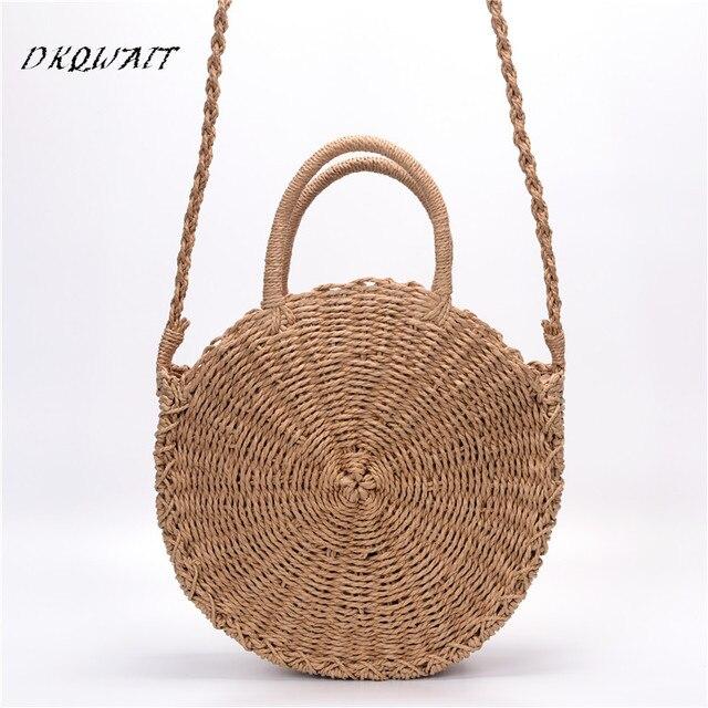 da38a1f326f9 US $17.92 30% OFF|Bohemian Bali Rattan Bags For Women Small big Circle Lady  Straw Beach Handbags Summer Vintage Straw Bag Handmade Crossbody -in ...