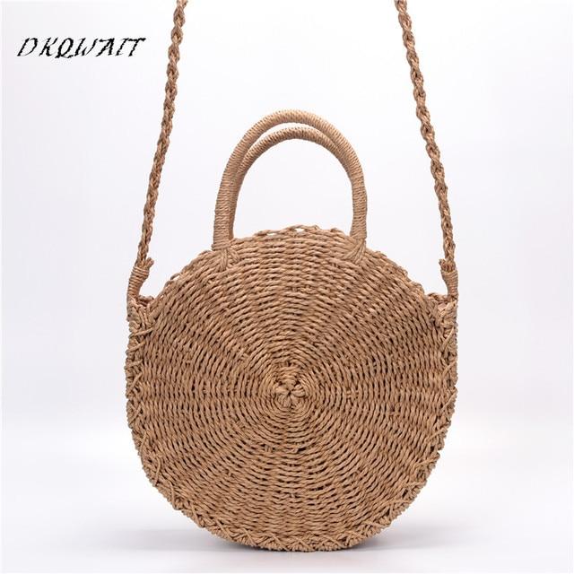 Bohemian Bali Rotan Tas untuk Wanita Besar Kecil Circle Wanita Jerami Pantai  Handbags Summer Vintage Tas 100ecd39bc