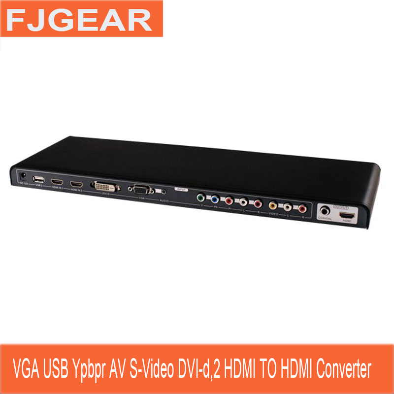 ALL to HDMI Converter Video VGA,USB,YPbPr,AV,S-Video,DVI-D,2 HDMI to HDMI Scaler & Switch Kaycube All-to-HDMI HD Convert vga ypbpr component av to hdmi hd video converter black