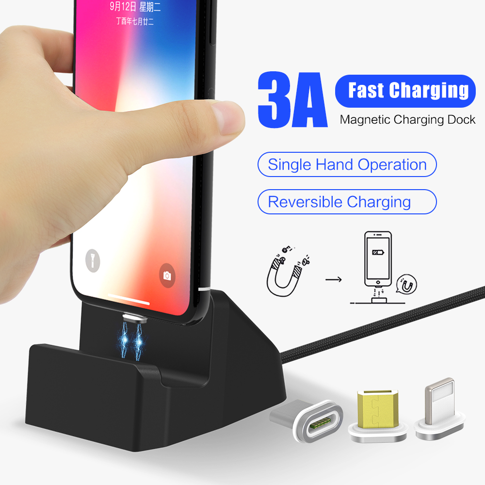 SIKAI 10th Gen Magnetic Charging Dock Micro usb Charging Stand USB C Data cable for iPhone Samsung 3A 15W Quick Charging Charger