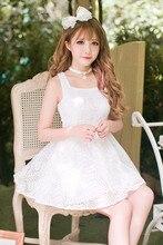 Księżniczka słodka sukienka lolita cukierki deszcz lato odśwież biała szyfonowa księżniczka sukienki z odkrytymi ramionami z haftem C16AB6114