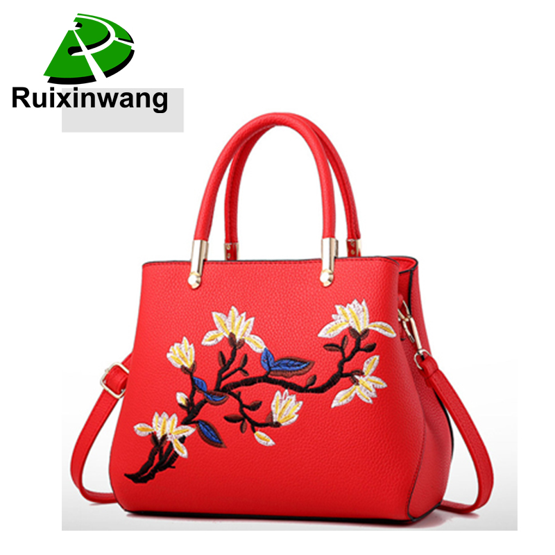 New Design Women Classical Style Handbag Zipper Embroidery Flower Messenger Bags Pu Leather Shoulder Bags Multiple Colors zipper fly birds embroidery design straight leg jeans
