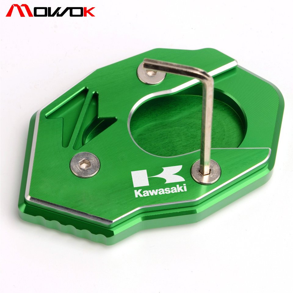 waase Motorcycle Kickstand Foot Side Stand Extension Pad Support Plate For Kawasaki Z800 Z1000 Z1000SX ER4N ER4F ER6N ER6F Ninja 400R 650 650R 1000 ZX-6R ZX-10R Red