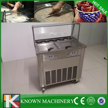 High quality two compressors 2 pans with 5 cooling tanks thailand fried ice cream roll making machine free sea shipping