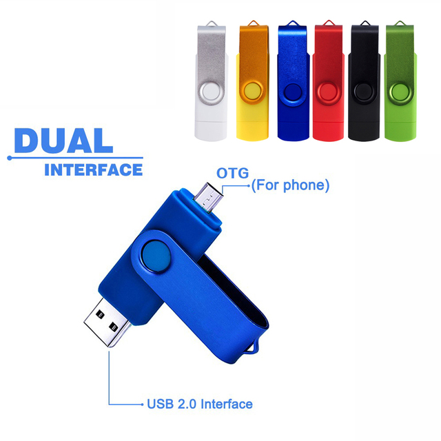 NEW Metal Rotatable OTG USB Flash Drive Pen Drive 4gb 8gb 16gb 32gb 64gb 128gb Pendrive USB Stick for smart phone/PC