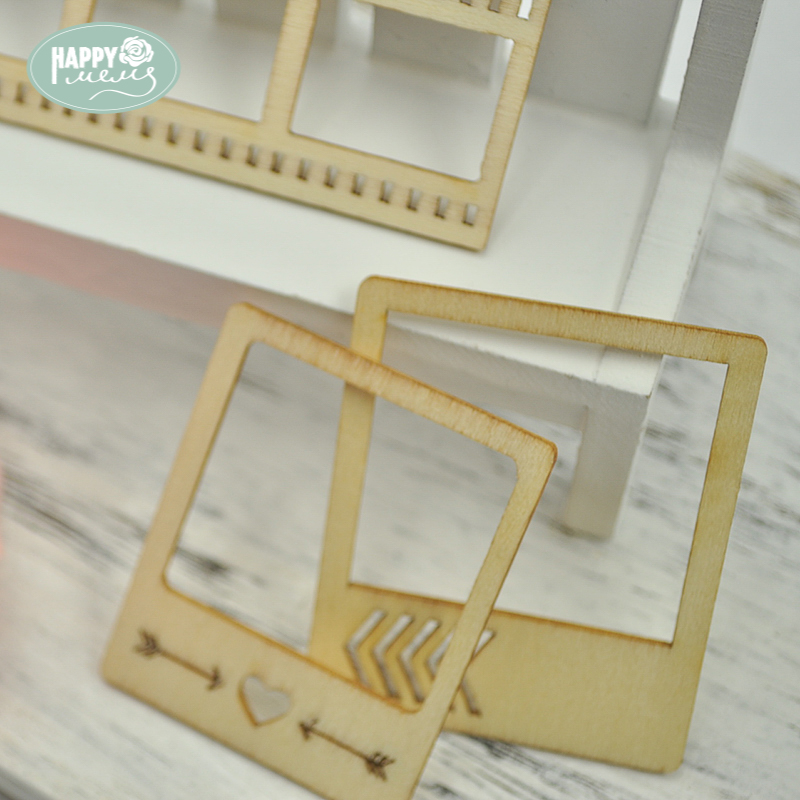 Happymems Wood Shape Frames 24pcs Unfinished Wooden Crafts Wall ...