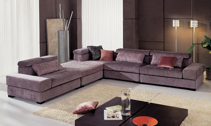 Free Shipping Fabric Furniture New Design Living Room L Shaped With  Washable Fabric Corner Sofa Set