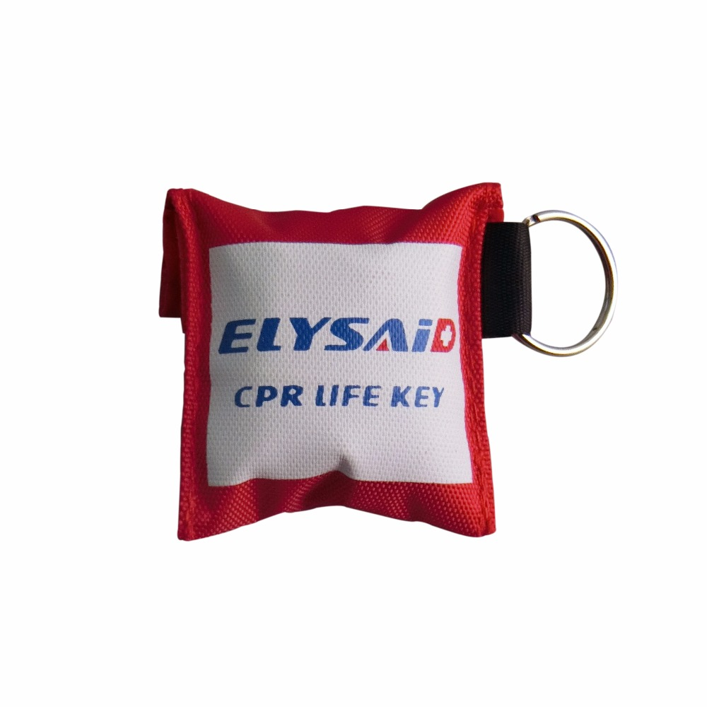 New 100Pcs/Lot CPR Resuscitator Mask CRP Face Shield With Keychain Key Ring One-Way Valve With Gloves Emergency Rescue Kit 100pcs lot disposable keychain cpr mask with a pair latex gloves one way valve first aid mouth breath resuscitator face shield