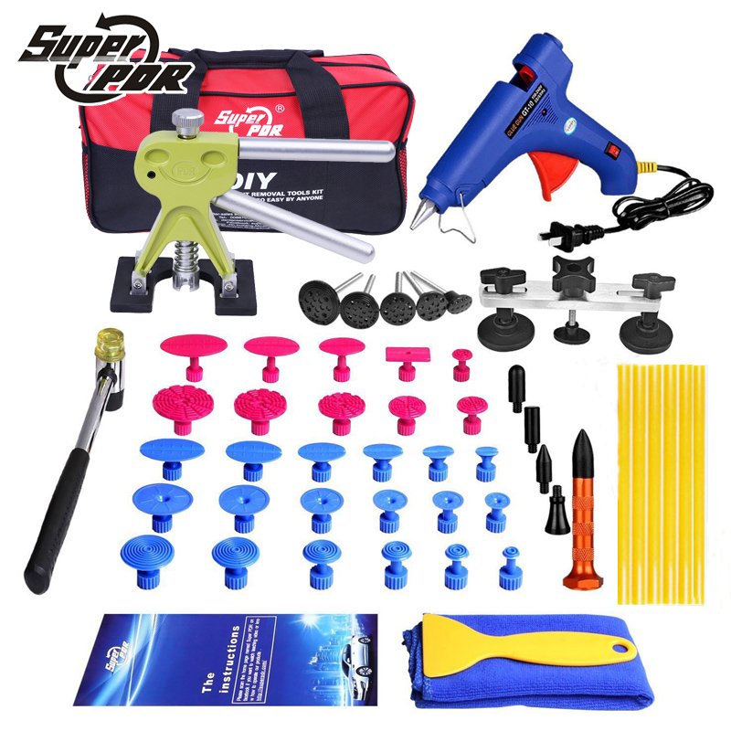 PDR Tools kit Car Paintless Dent repair tool set Dent Puller Pulling Bridge glue gun for dent removal tools pdr tools car dent repair tool kit paintless dent removal tool set pulling bridge green smile face dent puller glue tabs 20pcs