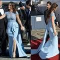 2015 nova celebridade vestidos frisada elegante tribunal trem vestidos de noite