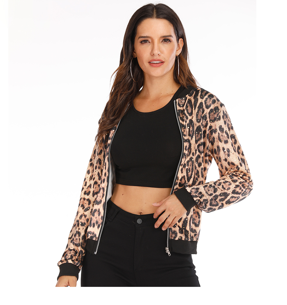 Rose Leopard Spring Women's Jackets Plus Size Short Female Coat Zipper Chaqueta Long Sleeve Polka Dot Women Bomber Jacket 13
