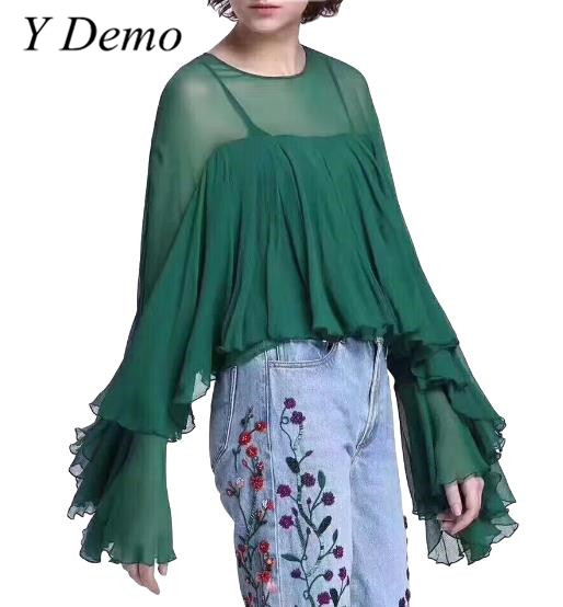2018 High Street Chiffon Womens Shirt Ruffles Flare Sleeve T-shirt Solid Color Soft Lady Top
