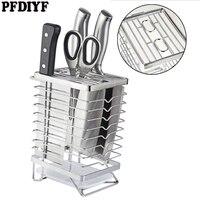PFDIYF Kitchen Knife Block Knives Holder Organizer Metal Rack Storage Block Stainless Steel Knife Rest Shelf Tools Accessories