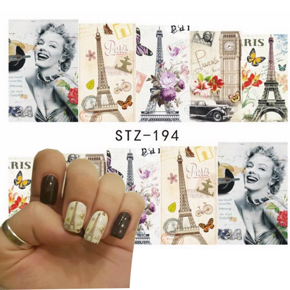 1pc Sexy Women Nail Art of Water Transfer Full Nail Sticker Nail Decorations for Manicure Patch DIY SASTZ193-197 art of war