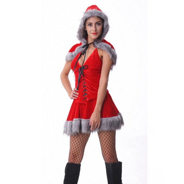 Free Shipping Elegant And Glamorous Red Polyester And Spandex Strapless Lady Christmas Dress Costumes
