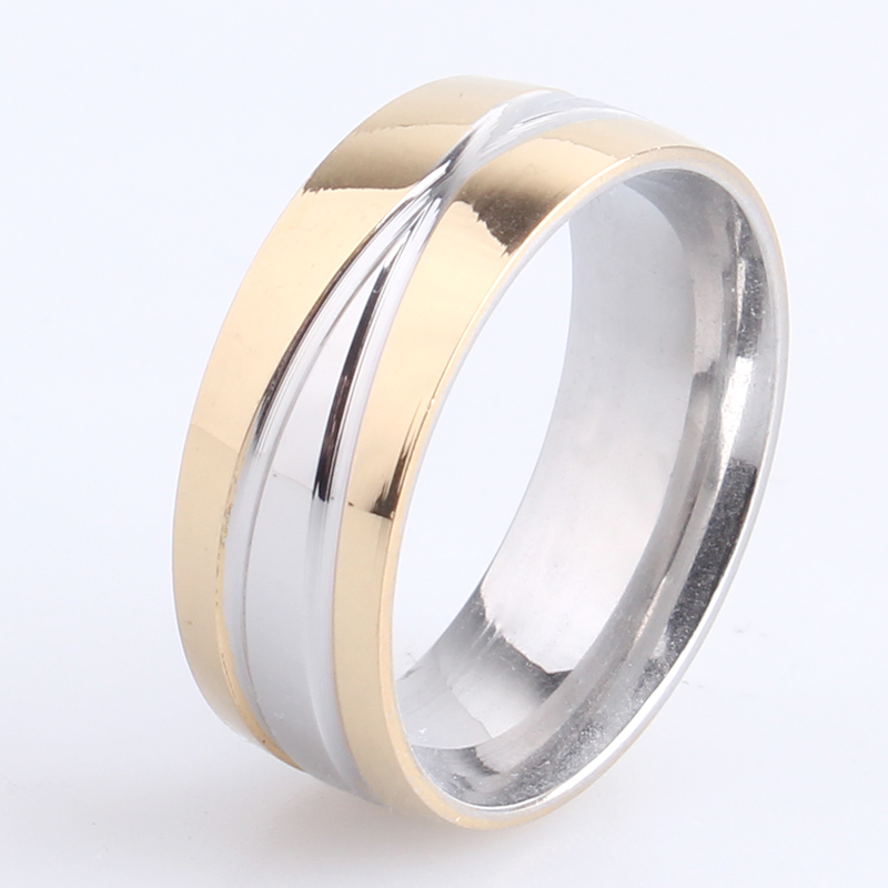 free shipping 8mm gold silver cross stripes 316L Stainless Steel finger rings for men wholesale