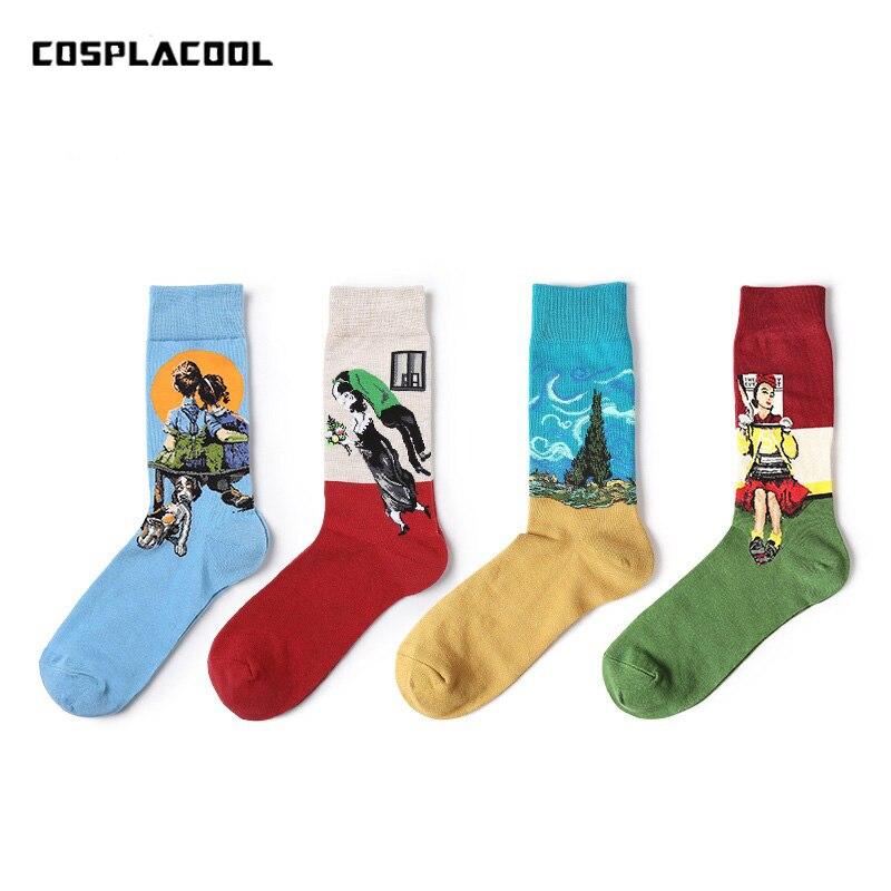 [COSPLACOOL]]Van Gogh Art Abstract Oil Painting   Socks   Character Unisex Men Harajuku Design   Socks   Cotton Calcetine Novelty Funny