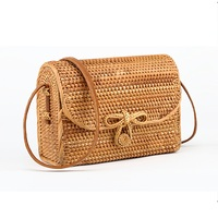 2018 fashion Bali Bohemian boutique autumn cane hand woven bag square butterfly buckle rattan bag handbag Messenger bag