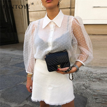 Women Chiffon Blouse Transparent Mesh Beading Puff Sleeve