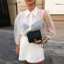 Fantoye Spring New Women Chiffon Blouse Shirt Sexy Transpare