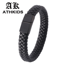 New Fashion Braided Leather Bracelet for Men Women Stainless Steel Magnetic Clasp Male Bracelets Bangles Men Jewelry Gift PD0740 obsede fashion genuine leather bracelet for men jewelry stainless steel bangle magnetic clasp black braided rope chain male gift
